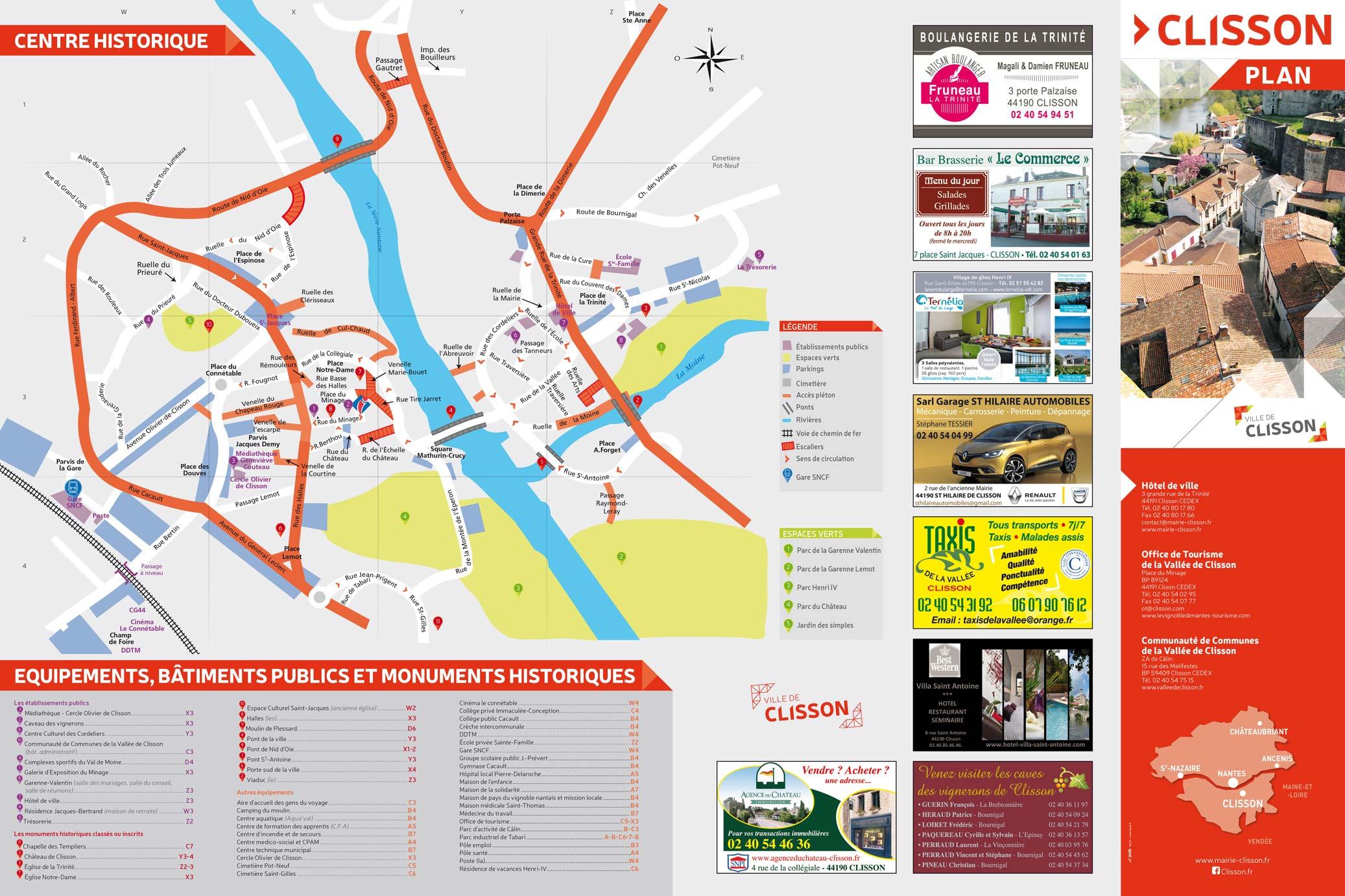 Plan de la Ville de Clisson - Centre historique